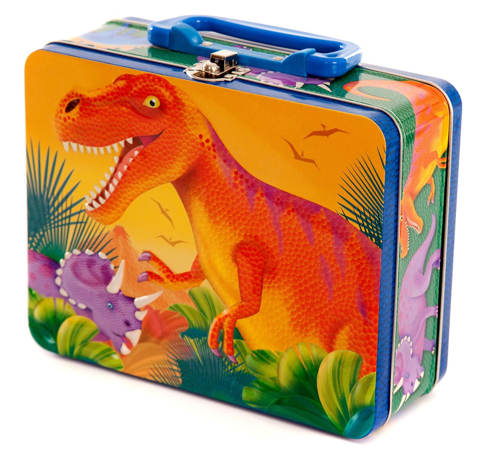 A dinosaur metal lunch box.