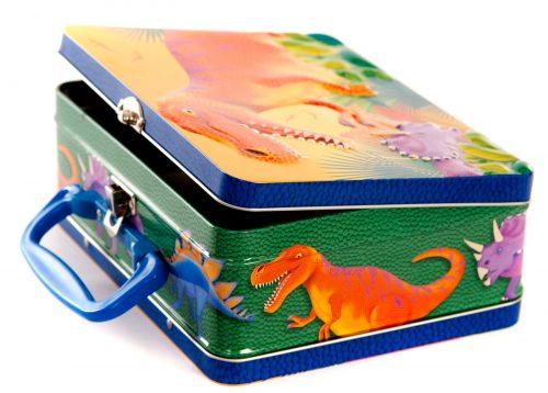A tin dinosaur lunch box.