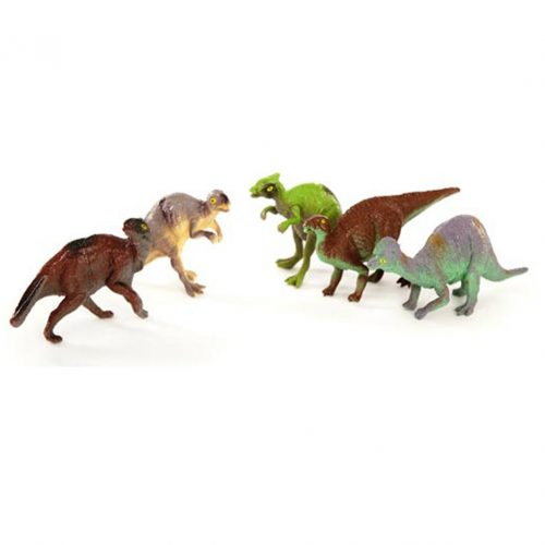Set of five dinosaur models.