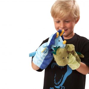 Super soft dinosaur themed hand puppets.