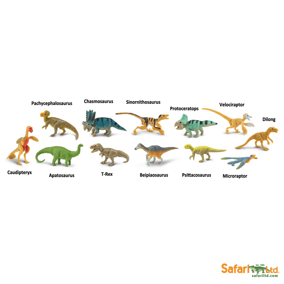 Dinosaur models in the Feathered Dinos Toob.