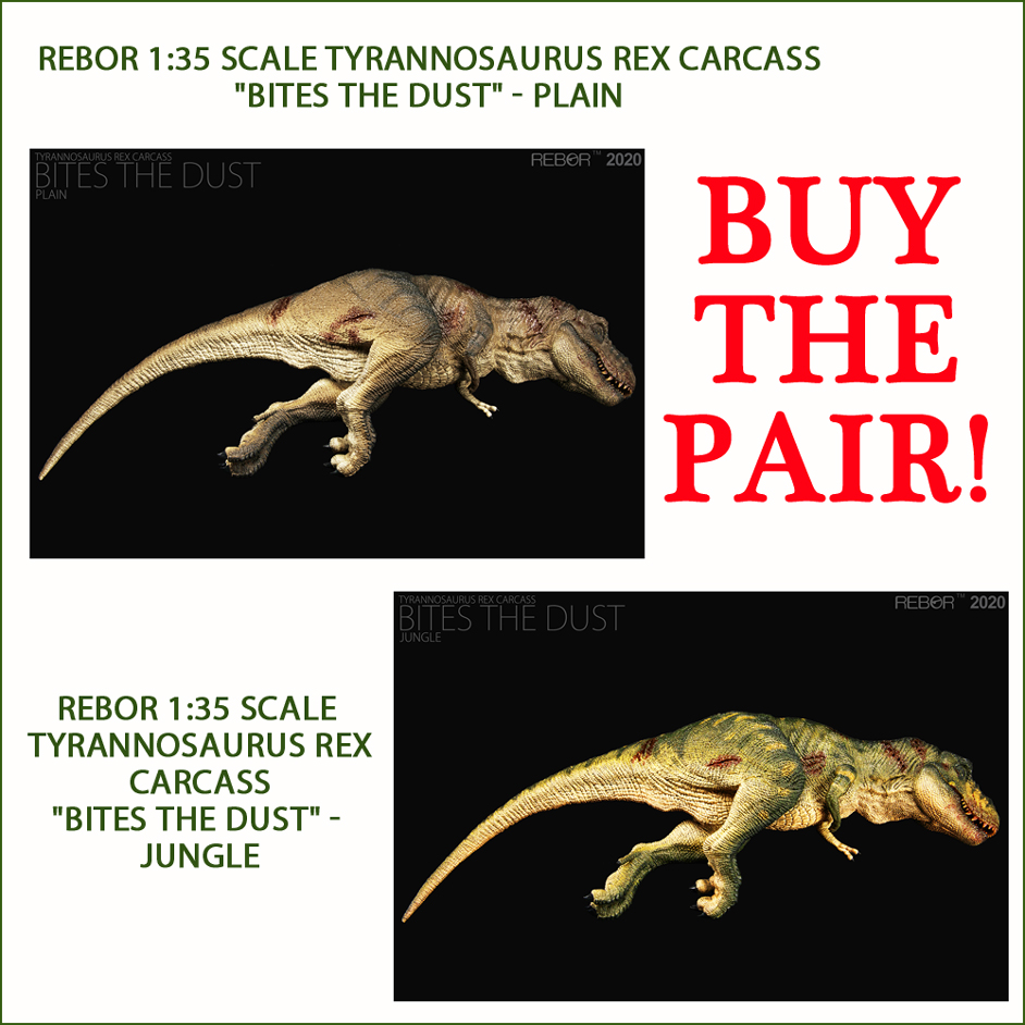 Rebor T. rex Carcass Bites the Dust Pair Plain and Jungle